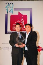 <br />Business Development Manager, Eurocave, Mr Hewett Tan, presenting Absinthe Restaurant Francais with the Eurocave Old World Wine List of the Year award.